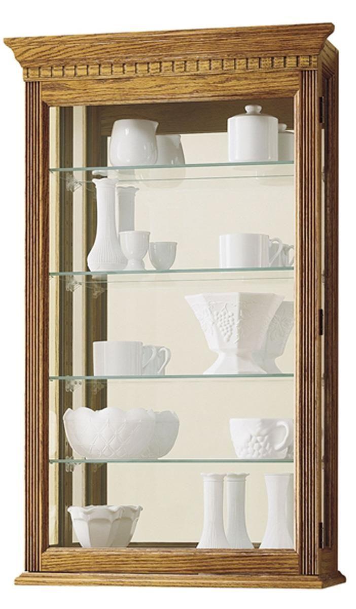 Wall Display Cabinet W 4 Shelves Mirrored Back Golden Oak