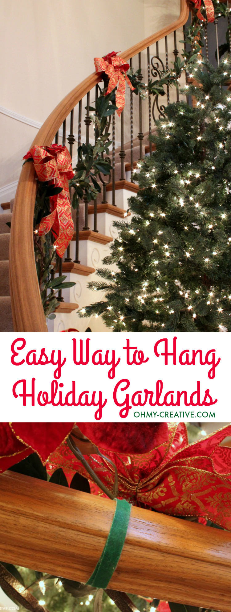 How To Hang Garland On Staircase Banisters Holiday Door Ideas