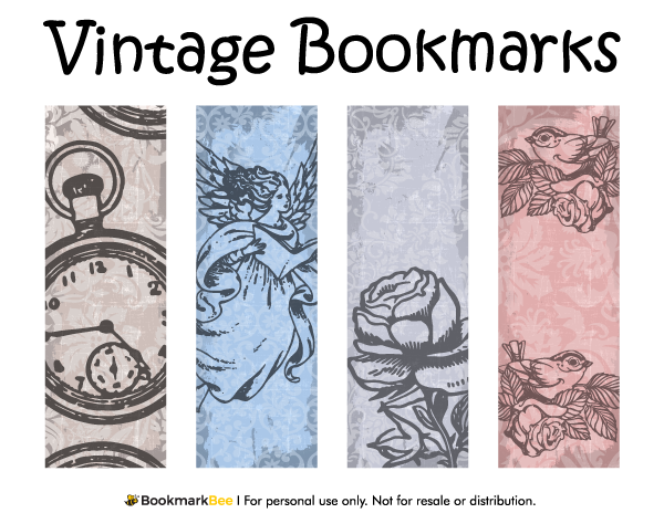 Free printable vintage bookmarks download the pdf template at http bookmarkbeecom bookmark for Printable bookmarks pdf
