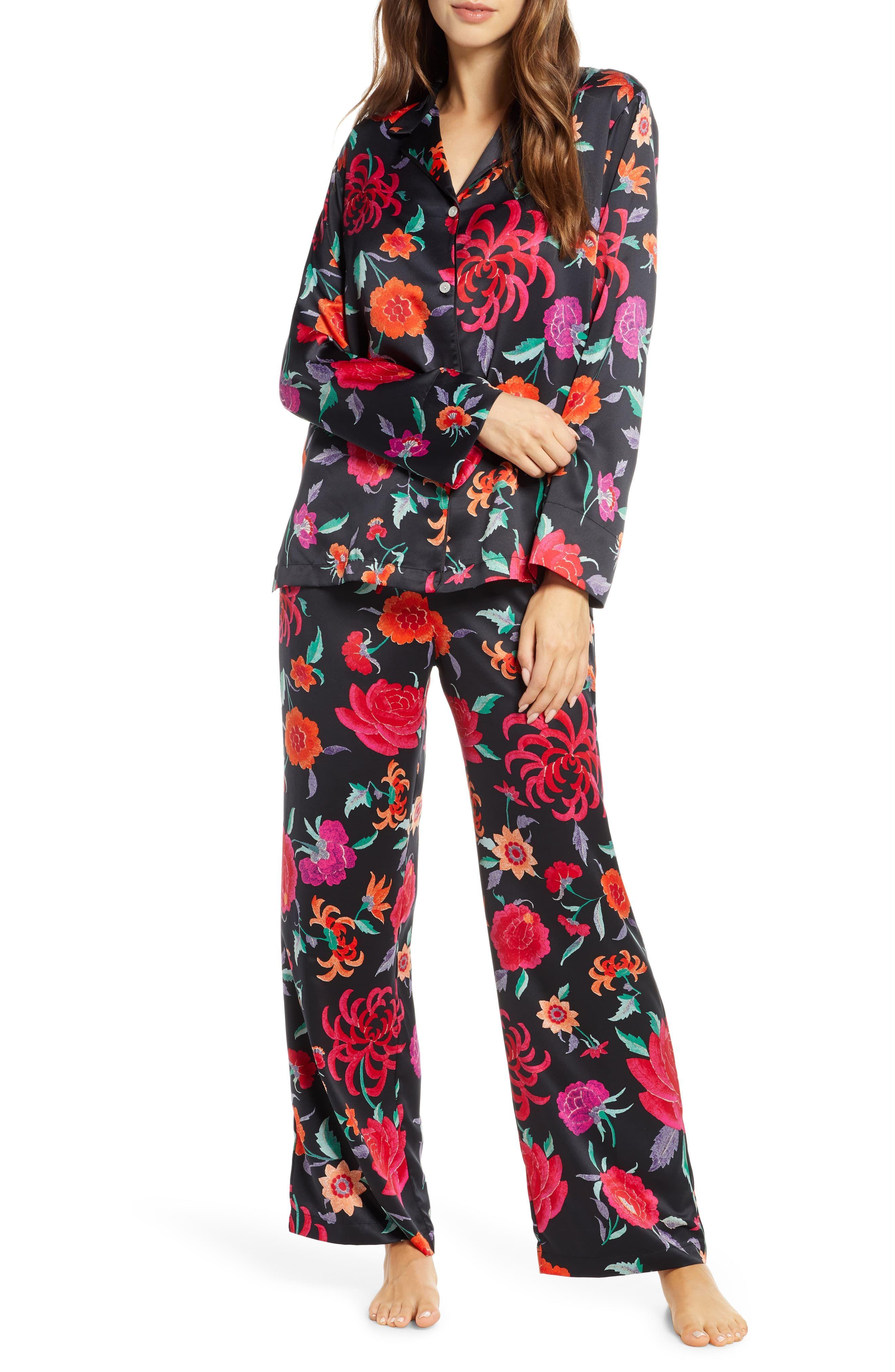 Women's Natori Duchess Satin Pajamas, Size Large - Black #duchesssatin