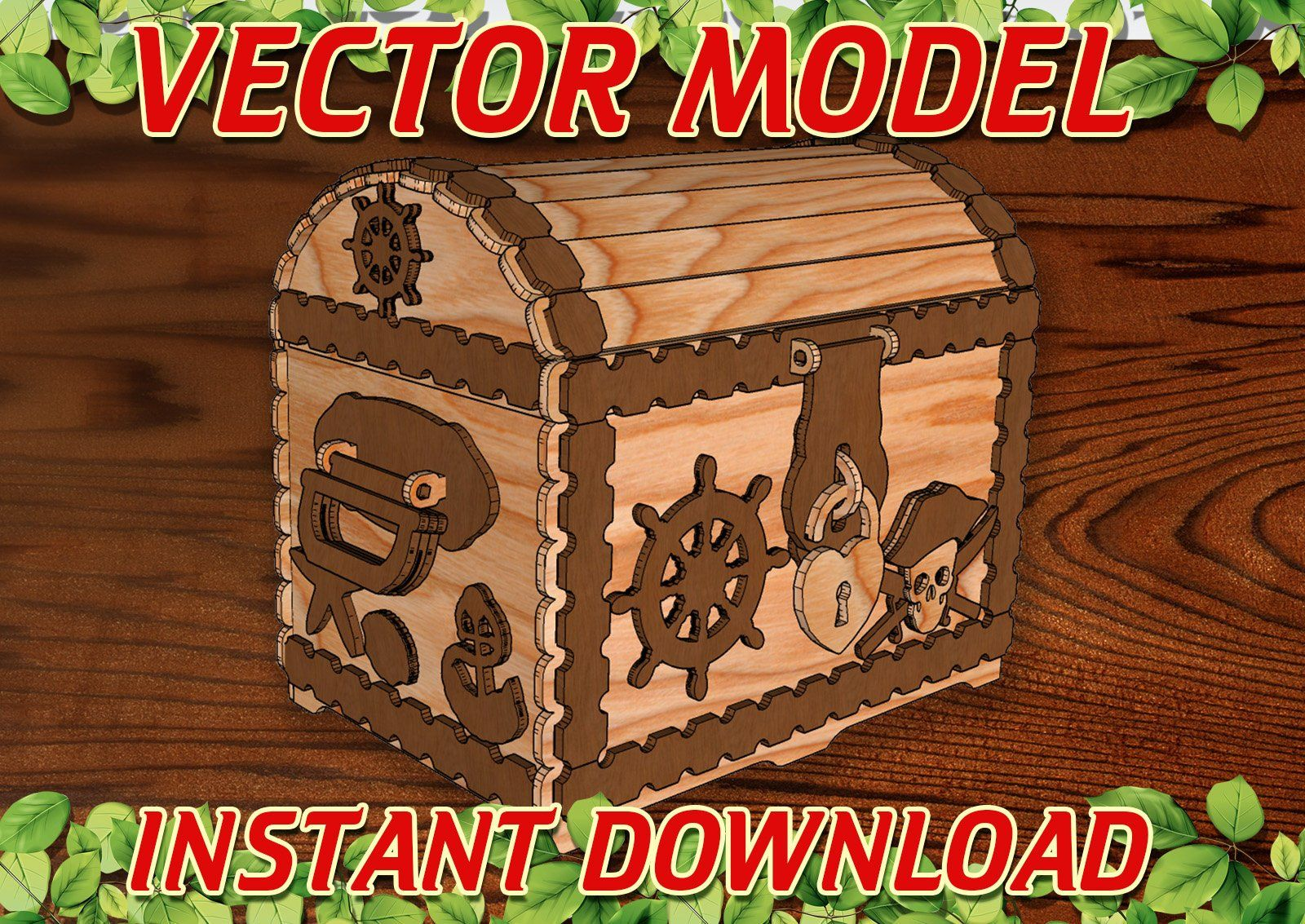 Vector file for laser cutting plywood Chest DXF CDR svg ai eps vector project for CNC router and laser cut CorelDraw