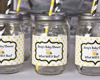 Baby Shower Favors Labels ~ Water bottle labels baby shower decorations yellow black bee
