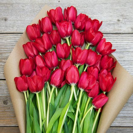 Cheeky Deluxe Red Tulips Bouquet Valentines Flowers Red Tulips