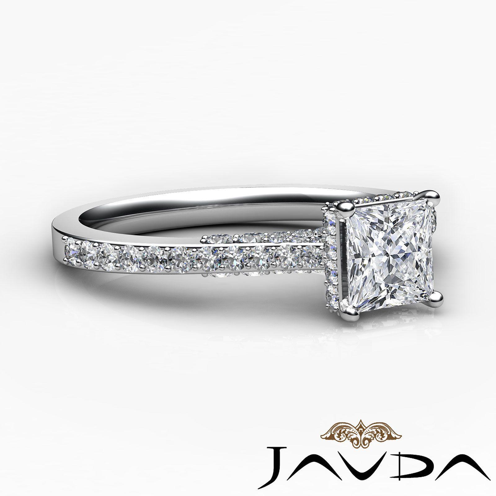 wedding rings ebay Princess Diamond Elegant Pave Engagement Pave Ring GIA E SI1 Platinum 1 15ct eBay