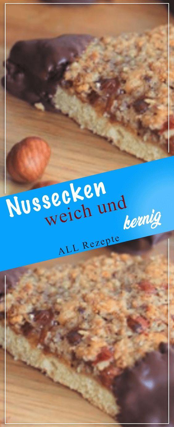 Nussecken – weich und kernig#Kochen #Rezepte #einfach #köstlich #nusseckenrezept