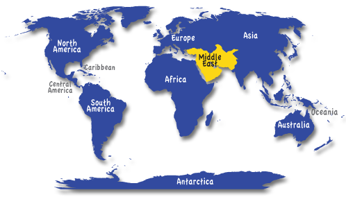 World Map showing Middle East Middle East Pinterest Middle