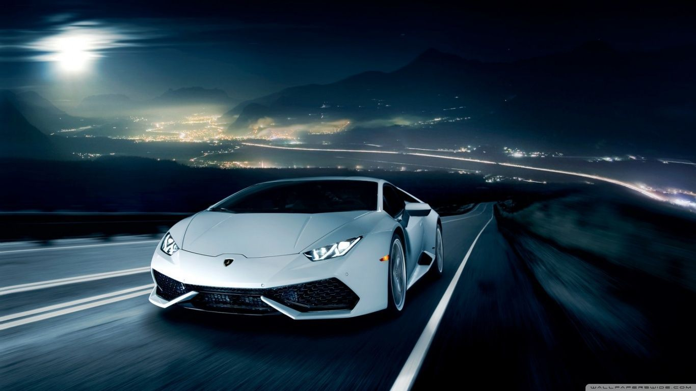 Lamborghini Huracan On The Road At Night Nice Cool Car Pictures For