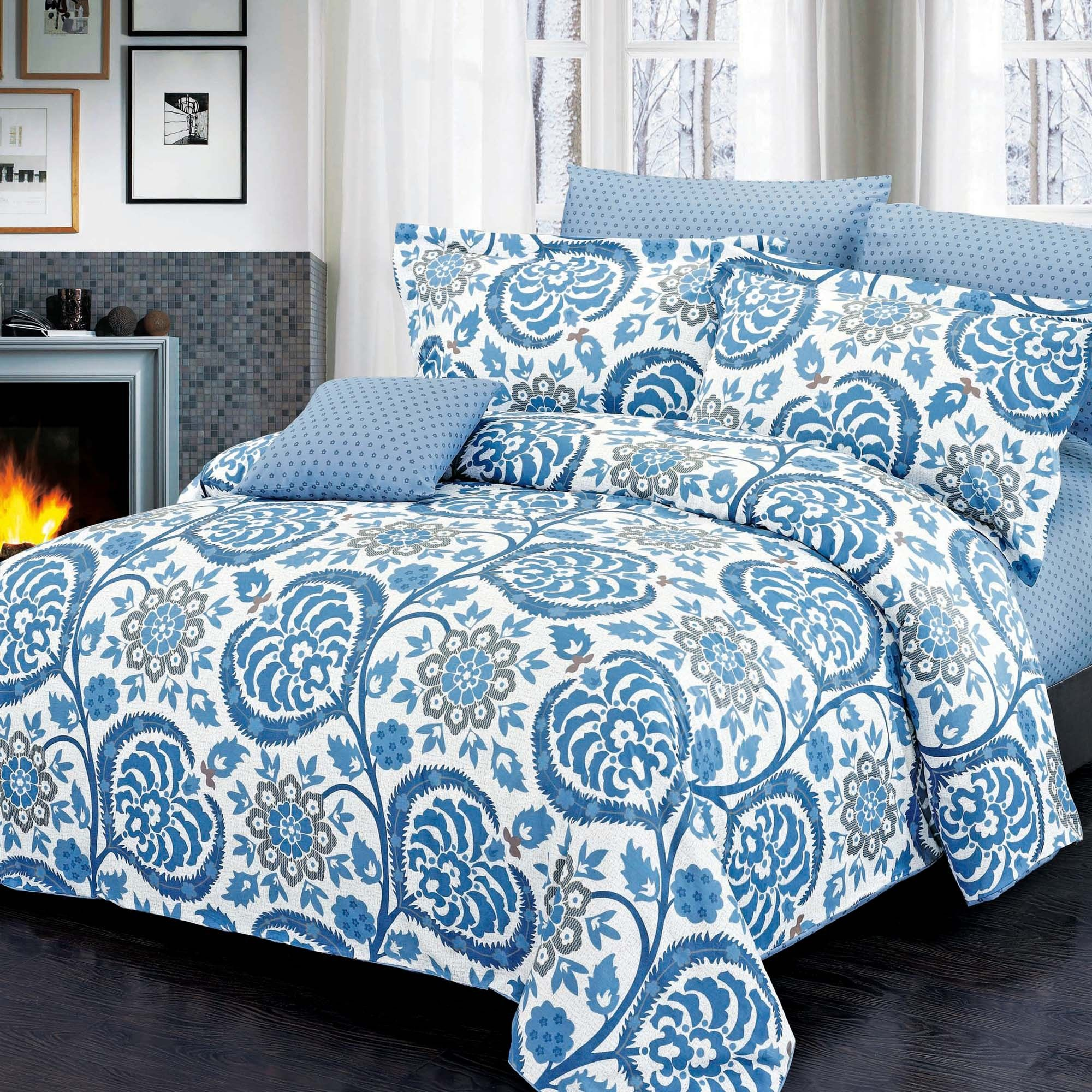 Housse De Couette Au Fond Blanc Avec Motif Floral Bleu Ensembles De Douillette Housse De Couette Housses