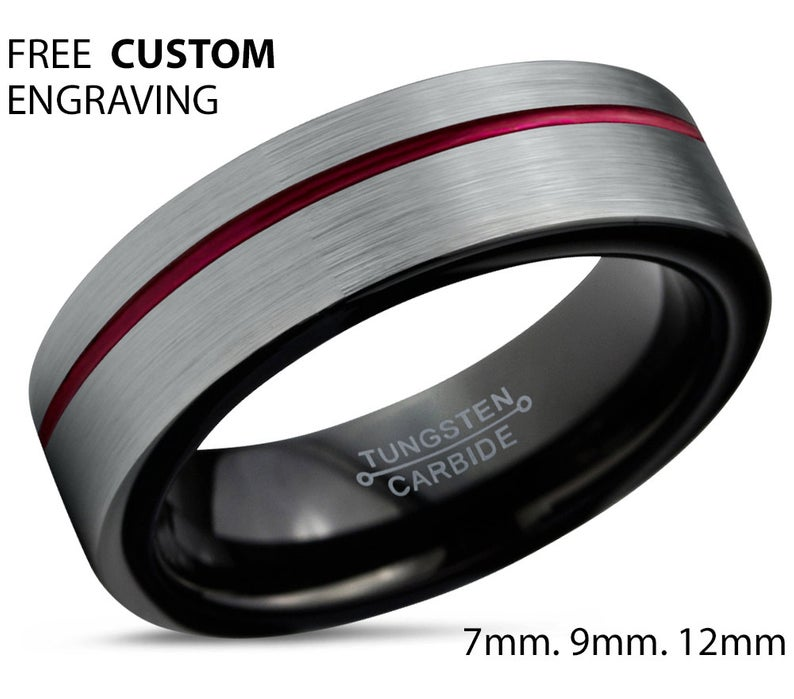 LIFETIME WARRANTY Free Shipping Silver Red Tungsten Ring Band Red Line Stripe Silver Tungsten Ring Red Tungsten Band Engrave Personalize