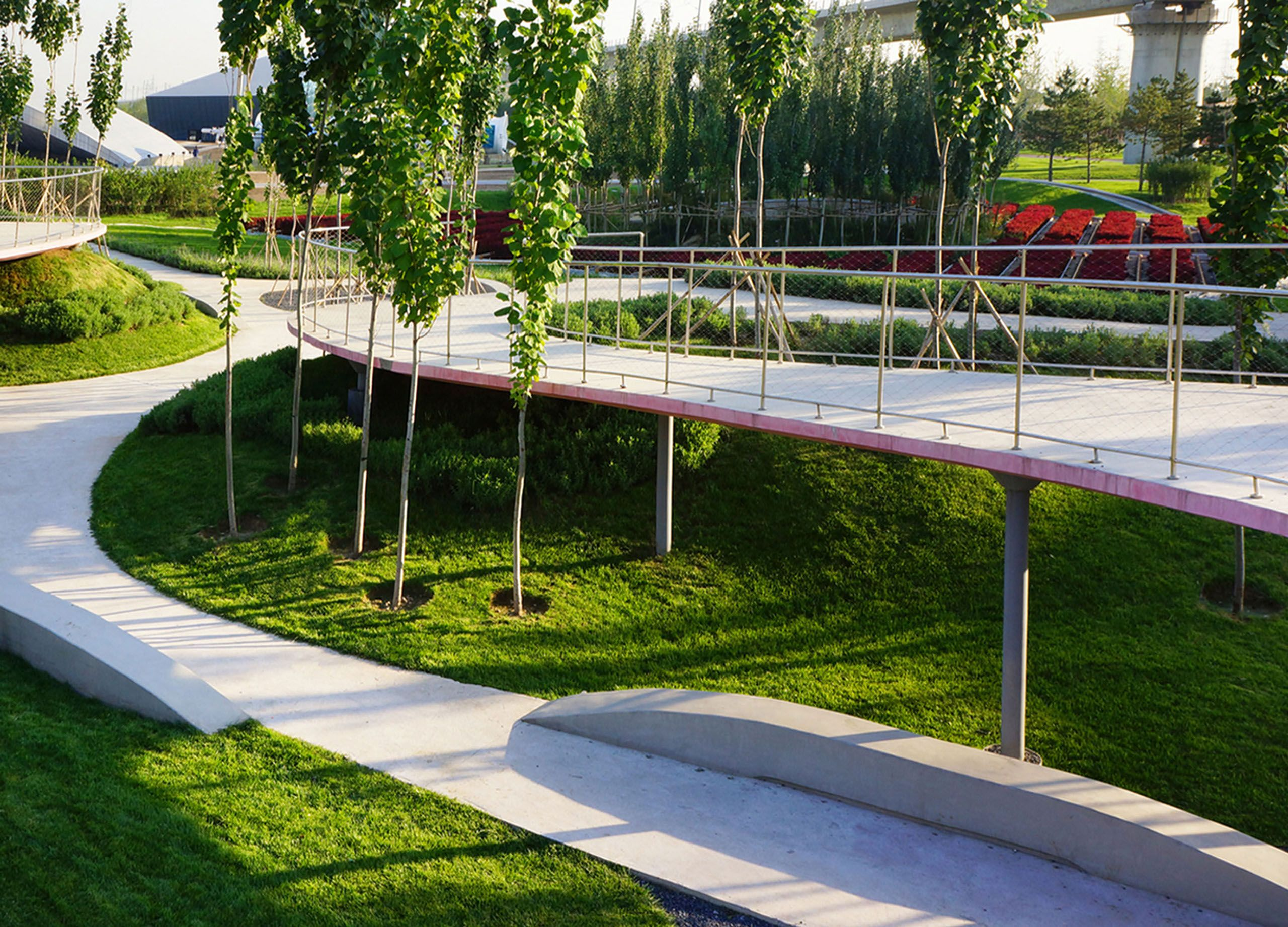 Beijing Expo Garden Bridge Path And Bench Photograph Of Built Installation  Project