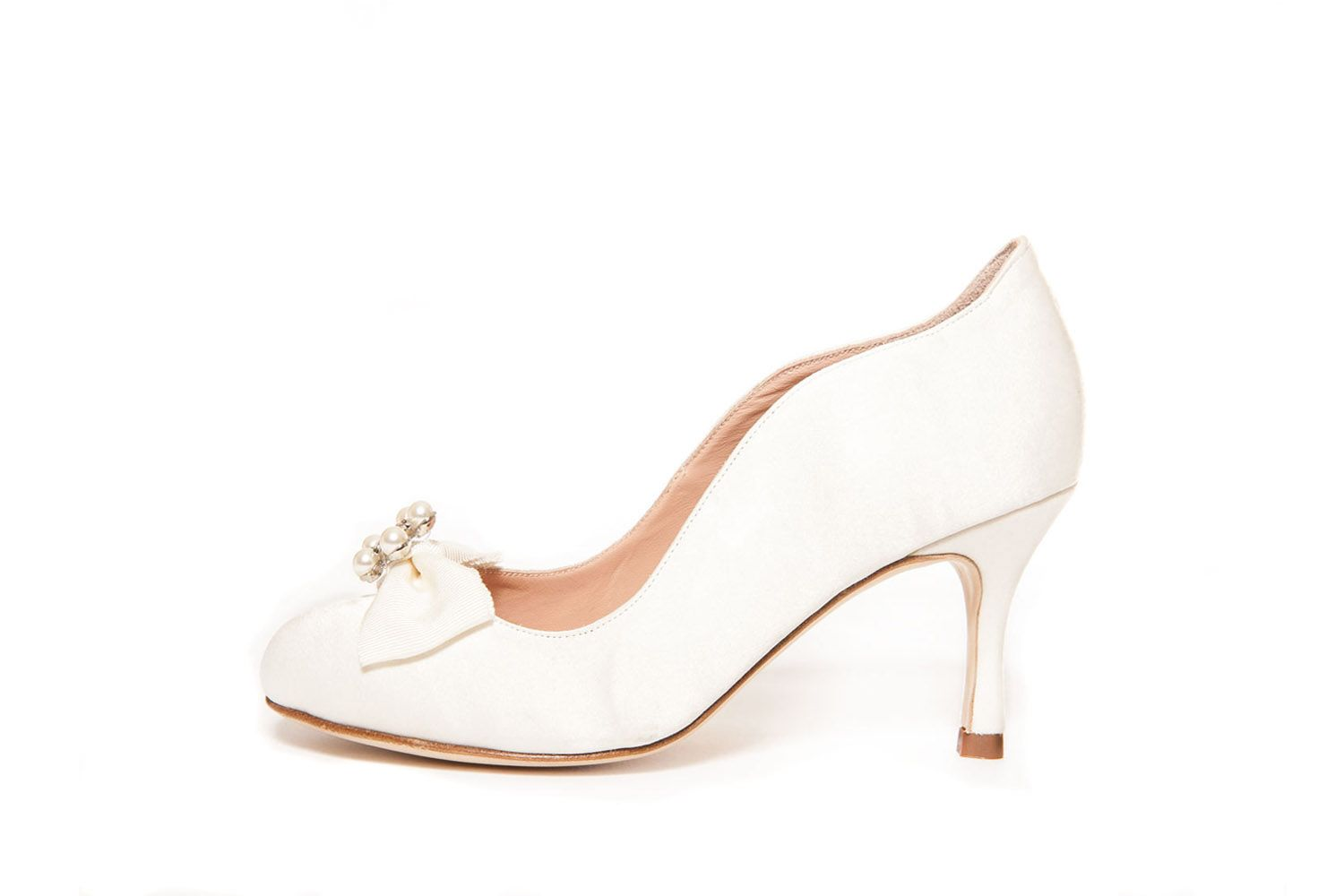 Luxury Wide Fit Wedding Shoe Made From Satin And Leather With Beautiful Customised Detailing