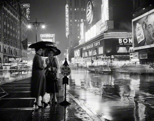 Rainy Night Times Square 1953 Photo H Armstrong