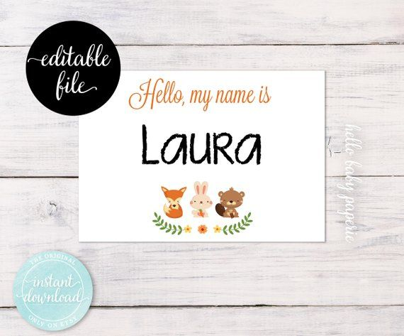 woodland name tags editable guest name tags avery adhesive baby