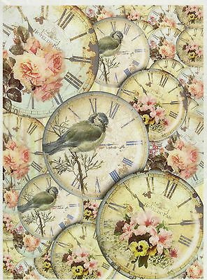 Rice Paper for Decoupage Decopatch Scrapbook Craft Sheet Vintage Birds and Roses