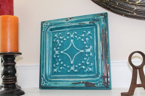 Hey, I found this really awesome Etsy listing at https://www.etsy.com/listing/107763615/tin-tile-on-wood-frame-teal