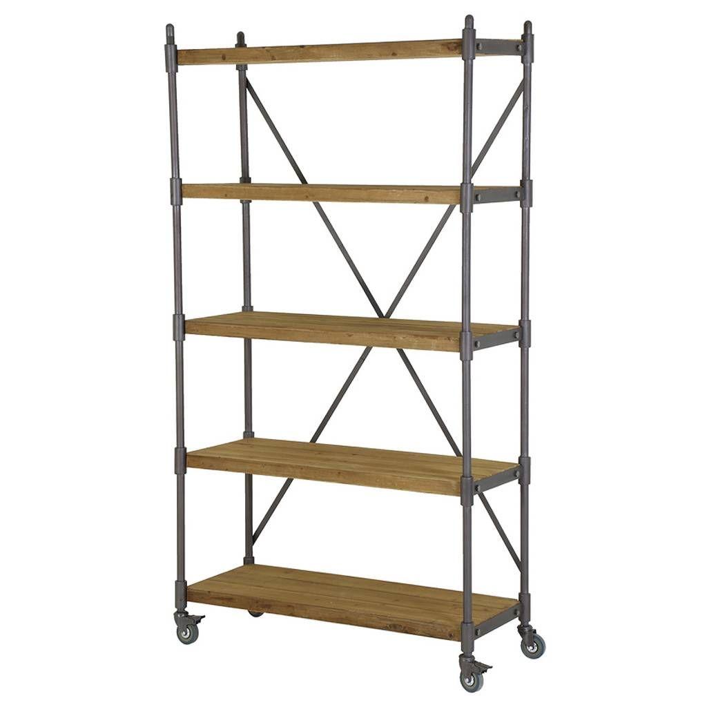 Witte Stellingkast Hout.Stellingkast Metaal Met Hout Opbergrek Op Wielen Ladder Bookcase