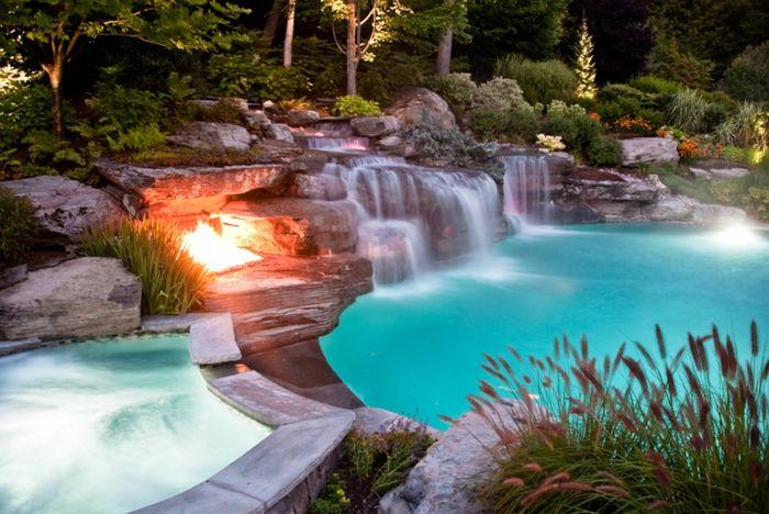 unglaubliche pool bilder - feuerstelle ganz neben dem wasser - eine feuerstelle am pool