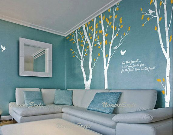 Vinyl Wall Decal Birch Trees Wall Decal Quote Decal Nursery Decal Kids Room  Wall Decal Birds   3 Birch Tree With Flying Birds And Letters