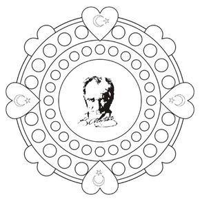 29 Ekim Cumhuriyet Bayramı Atatürk Kalıbı Mandala