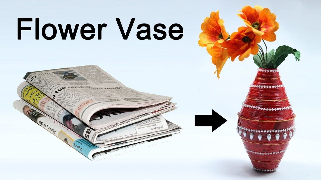 How to Make Flower Vase with Newspaper  Best out of Waste  Flower