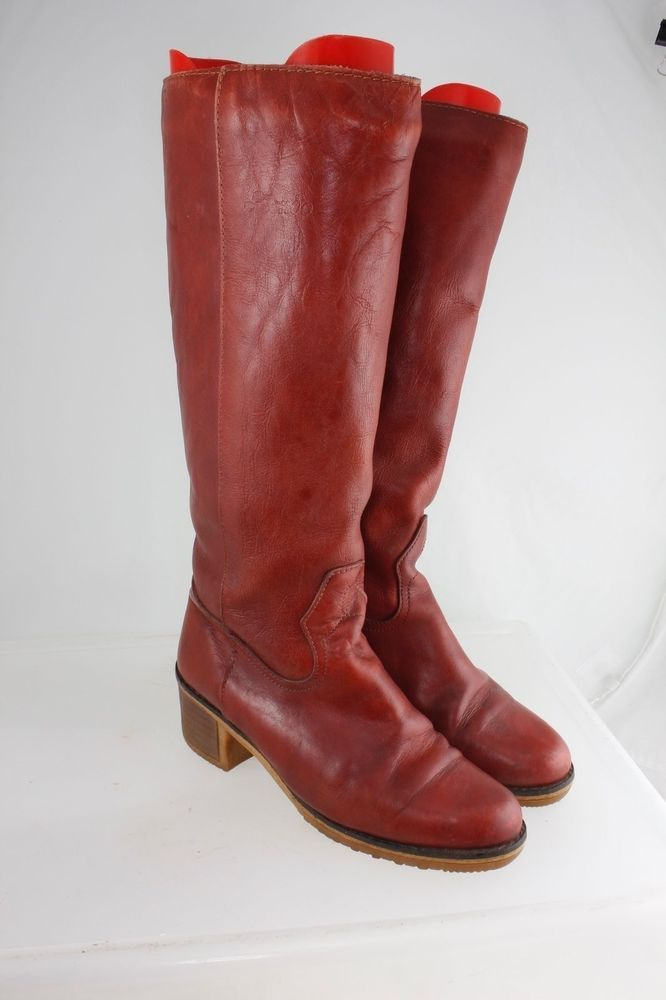 7ebf815a18e Blondo Red Leather Boots Ladies 8 Medium Vintage Shearling lined Knee High…