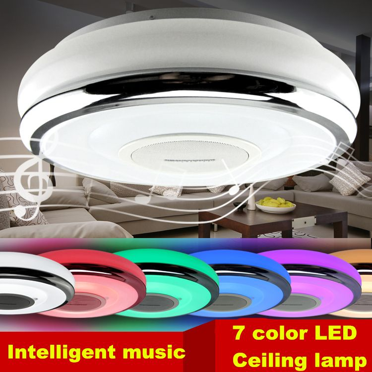 Intelligent Mobile Phone Dimming Led Lamp 7 Color Light Ceiling Bluetooth Lights Fixture Music Re