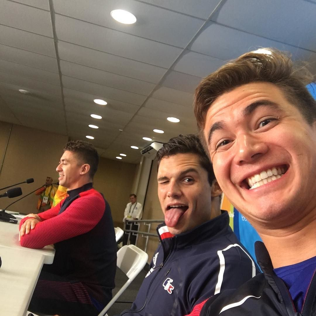 Snuck My Way Into Another Press Conference Today With Anthonyervin And Florentmanaudou One Last Final Tomorrow Gousa Nathan Adrian Go Usa Olympic Medals