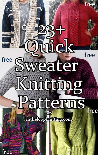 Knitting Patterns for Quick Sweaters in Bulky and Super Bulky Yarn ...