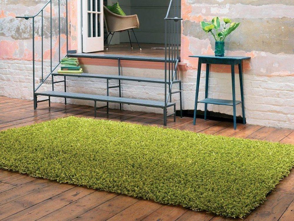 Teppich design hochflor langflor fußbodenteppich dumroo fern grün
