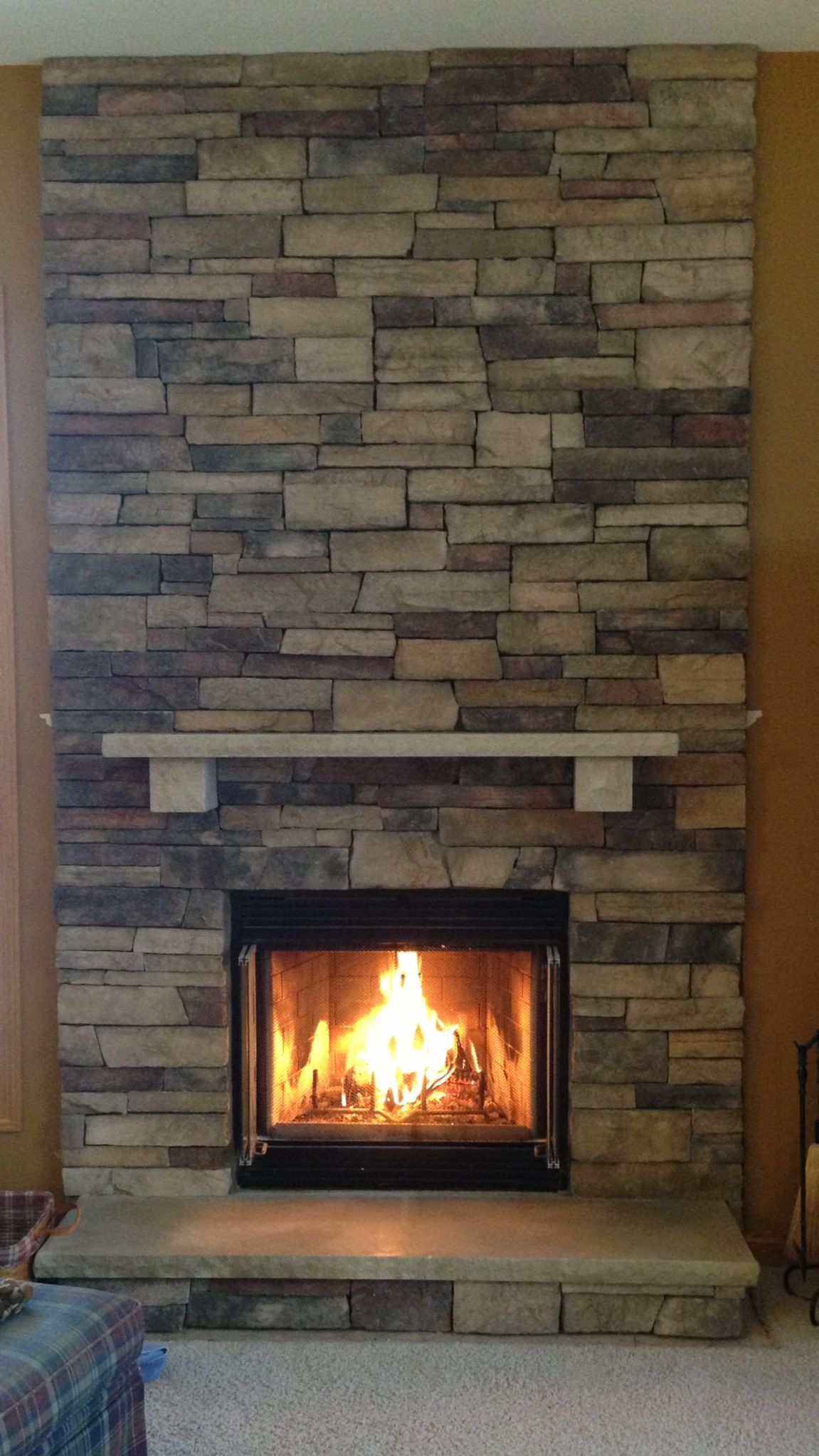 Boral Chardonnay Country Ledgestone Fireplace Stacked With
