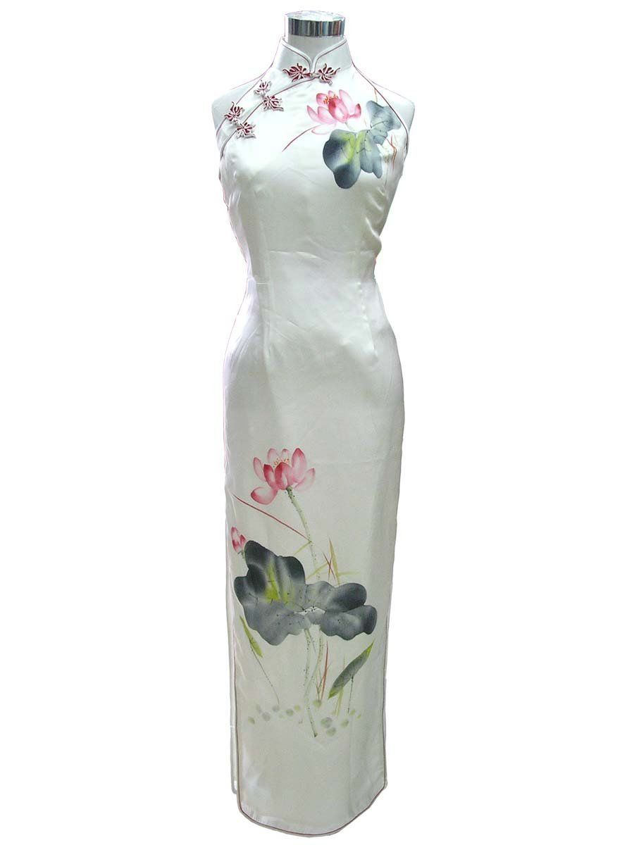 Amazon.com: Flower of the summer pure silk hand paint cheong sam dress: Clothing