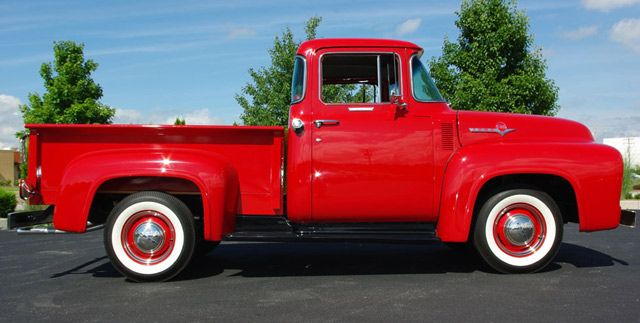 1956 Ford F100 Pickup Passenger Side View Classic Ford Trucks 1956 Ford F100 Ford Pickup