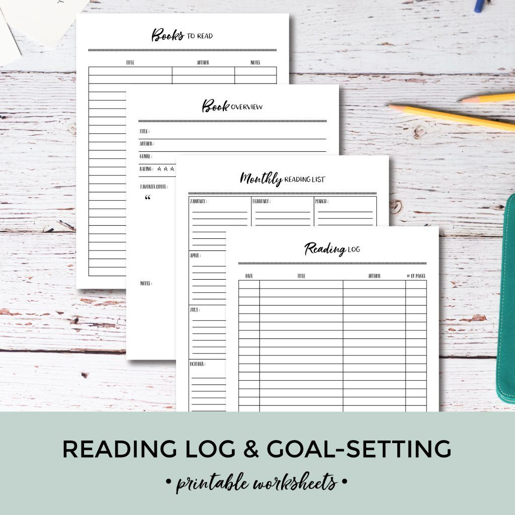 Printable Reading Log  GoalSetting Worksheets  Pretty Nerdy