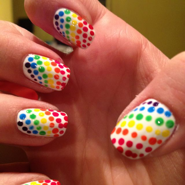 Multi colored dot nails!!!  So much fun to do !!
