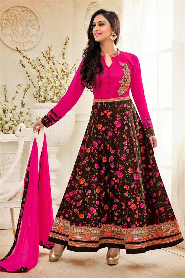 f8b314dda Krystle Dsouza Brown-Pink Bhagalpuri Anarkali Suit