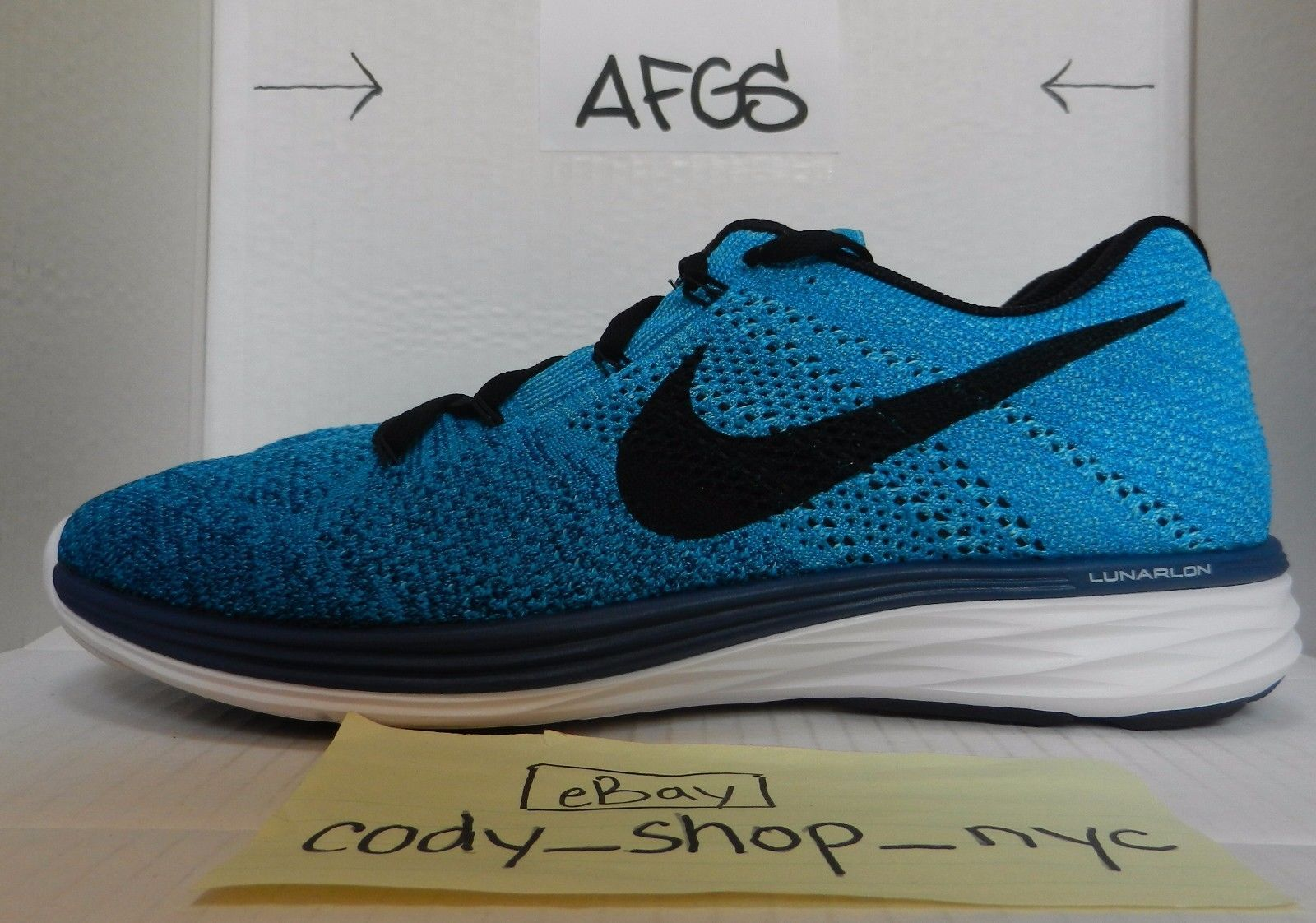 DS Nike Flyknit Lunar 3 Brave Blue size 12 turquoise running trainer 698181-401
