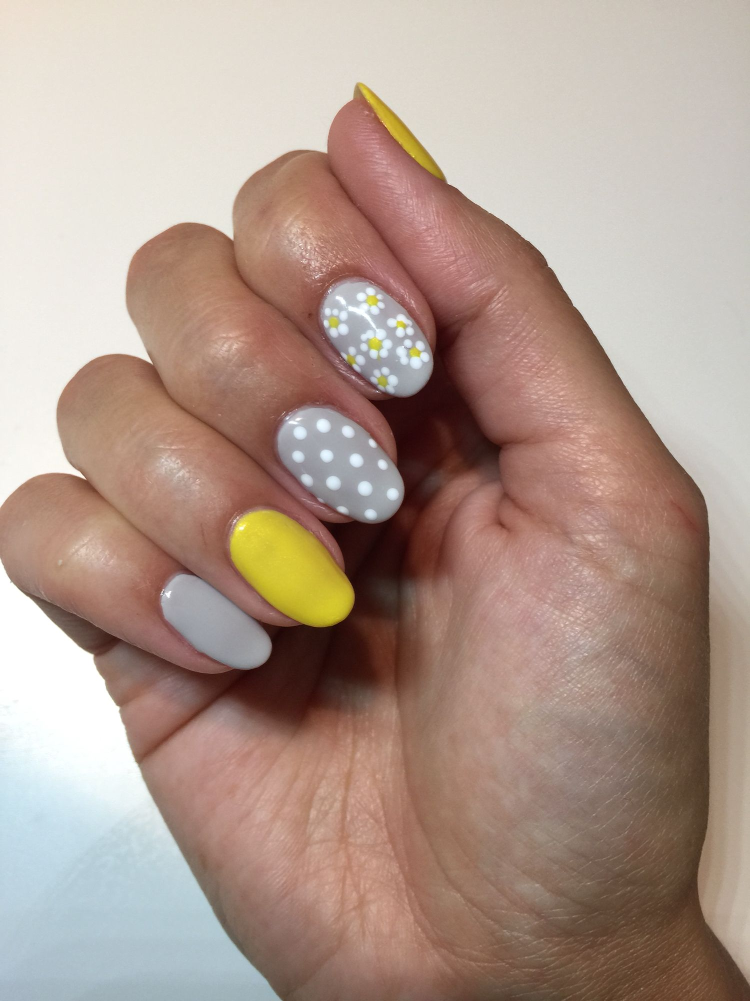Spring time nails with dots and flowers using CND Shellac in Bicycle ...
