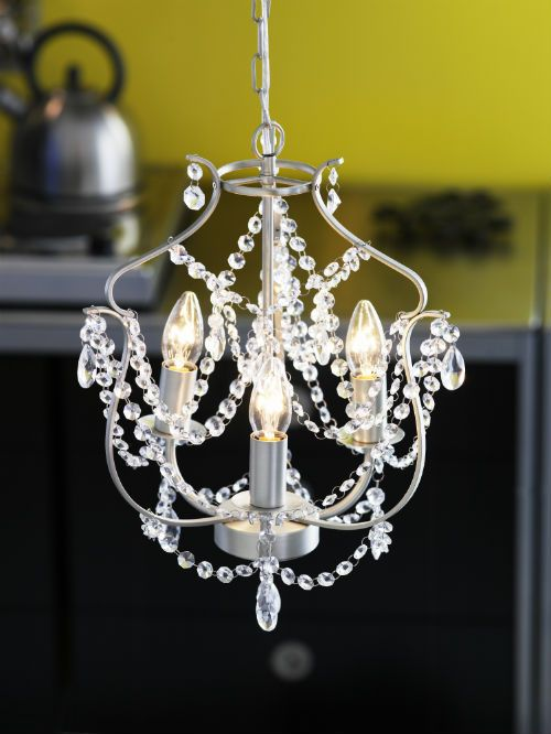 KRISTALLER Chandelier, 3-armed, silver color, glass | Ikea ...