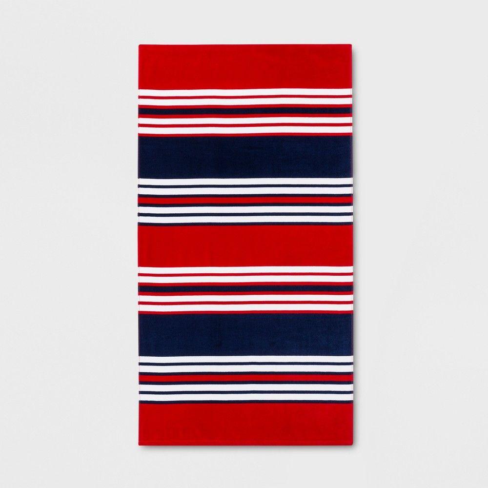 Sun Squad Stripe Beach Towel Blue Red In 2019