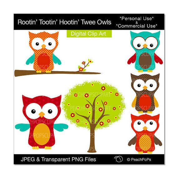 cute owl clipart digital clip art tree orange by ...