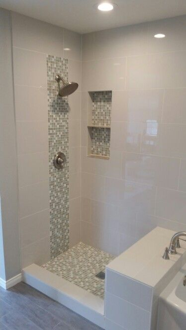 Tiled Shower With Double Recessed Shampoo Box Caskading