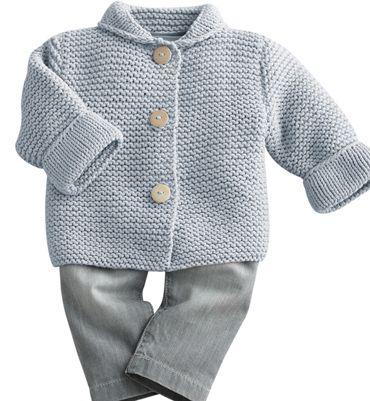 Modèle paletot bébé au point mousse - Modèles tricot layette ...