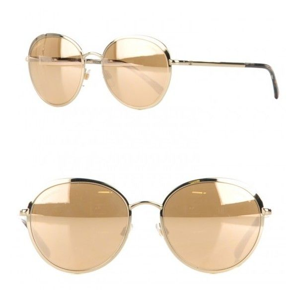37fe26295 CHANEL 18k Gold Mirror Round Signature Sunglasses 4206 Gold ❤ liked on  Polyvore featuring accessories, eyewear, sunglasses, mirrored sunglasses,  ...