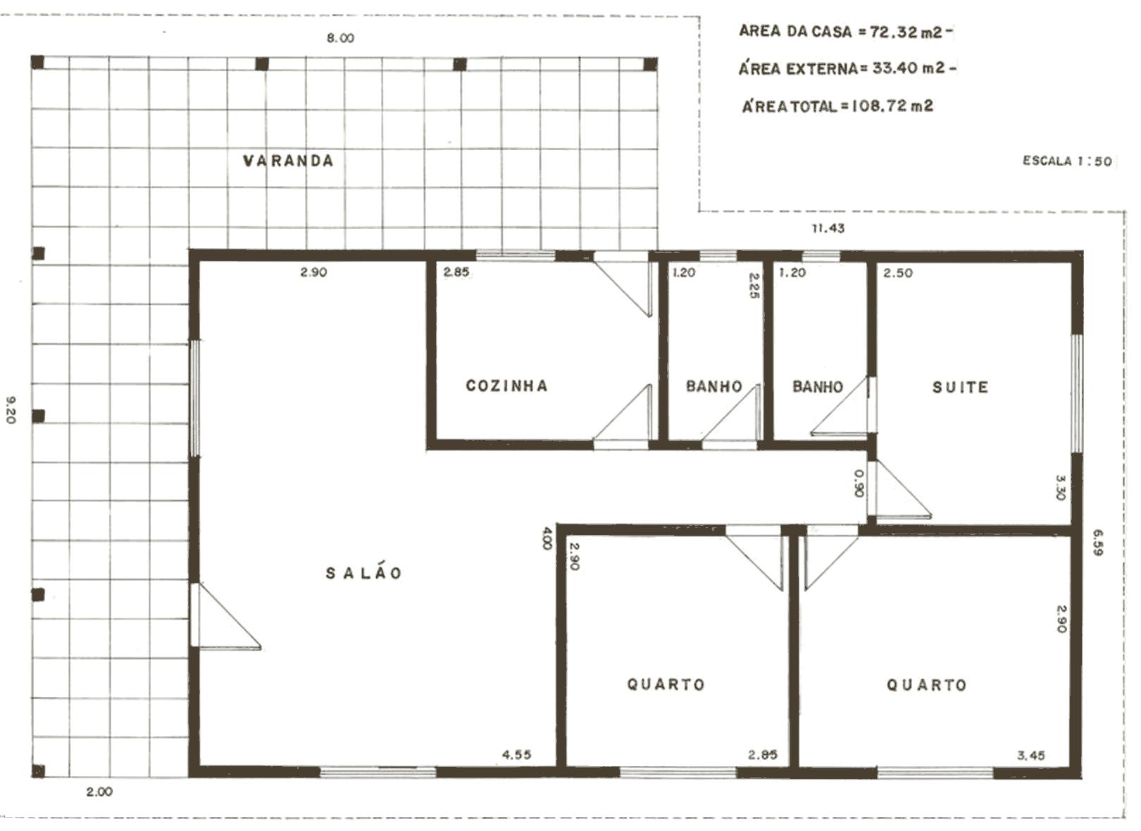 Plantas de casas com 3 quartos 1 pa vii pinterest - Modelos de casas de planta baja ...