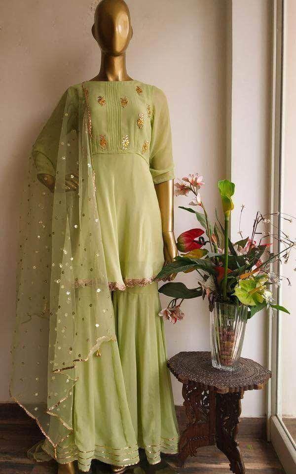 Peplum Style Gotta patti Sharara Suit #shararadesigns