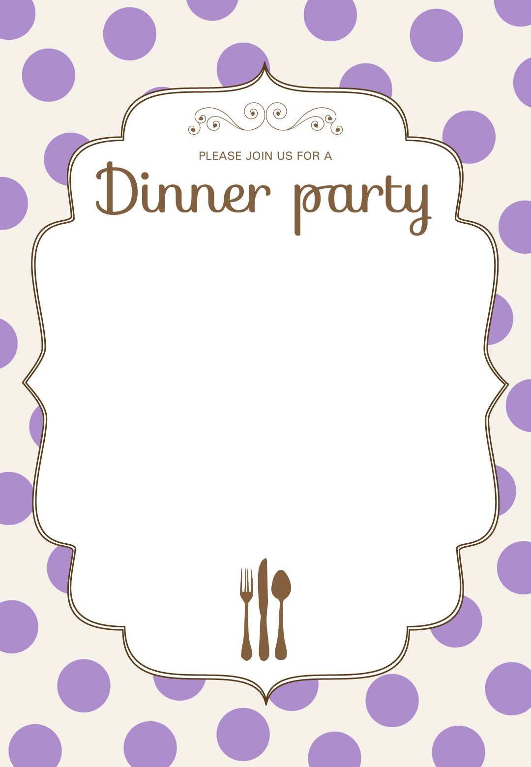 Free Printable Classic Dinner Party Invitation