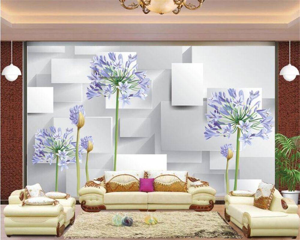 Beibehang photo 3D wallpaper Purple orchid 3D living room TV wall ...