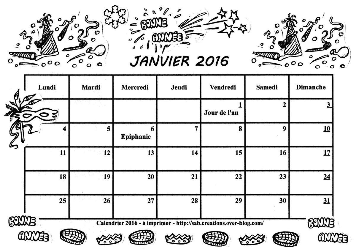 Bekannt Je vous offre le calendrier 2016 - Gratuit - A imprimer  MF99