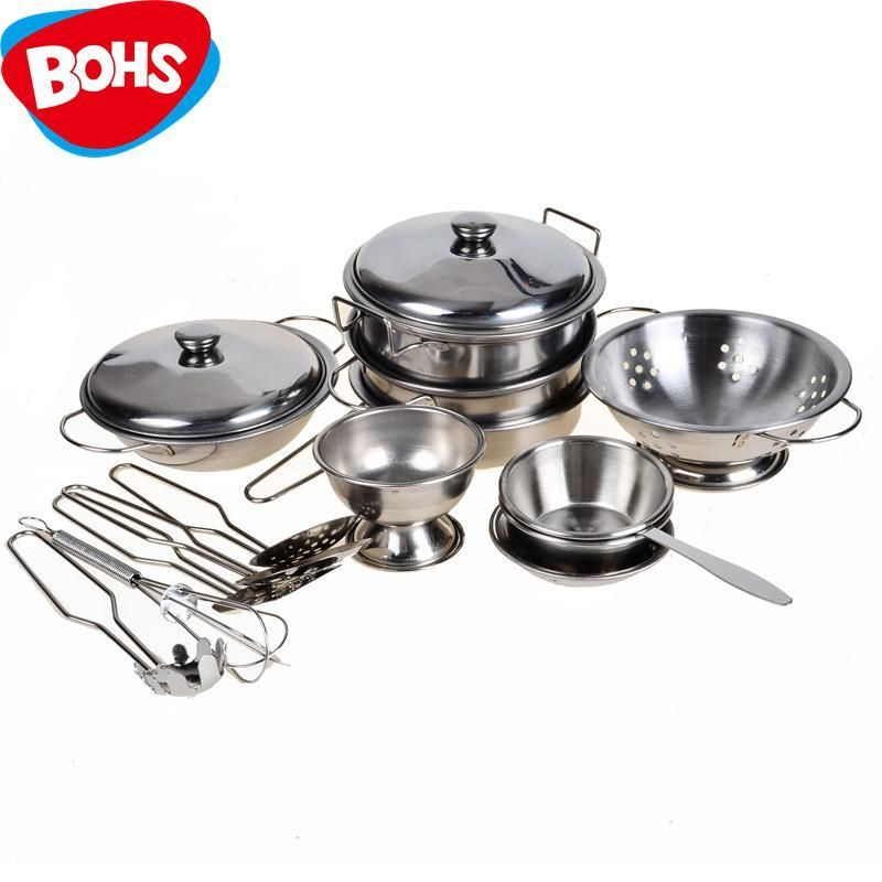 Stainless Steel Pots And Pans Pretend Play Kitchen Set For Kids