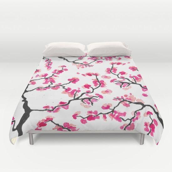 Japanese Cherry Blossoms Duvet Cover Japanese Japanesecherry Floral Pink Blossoms Pink Watercolo Japanese Interior Design Duvet Covers Japanese Interior